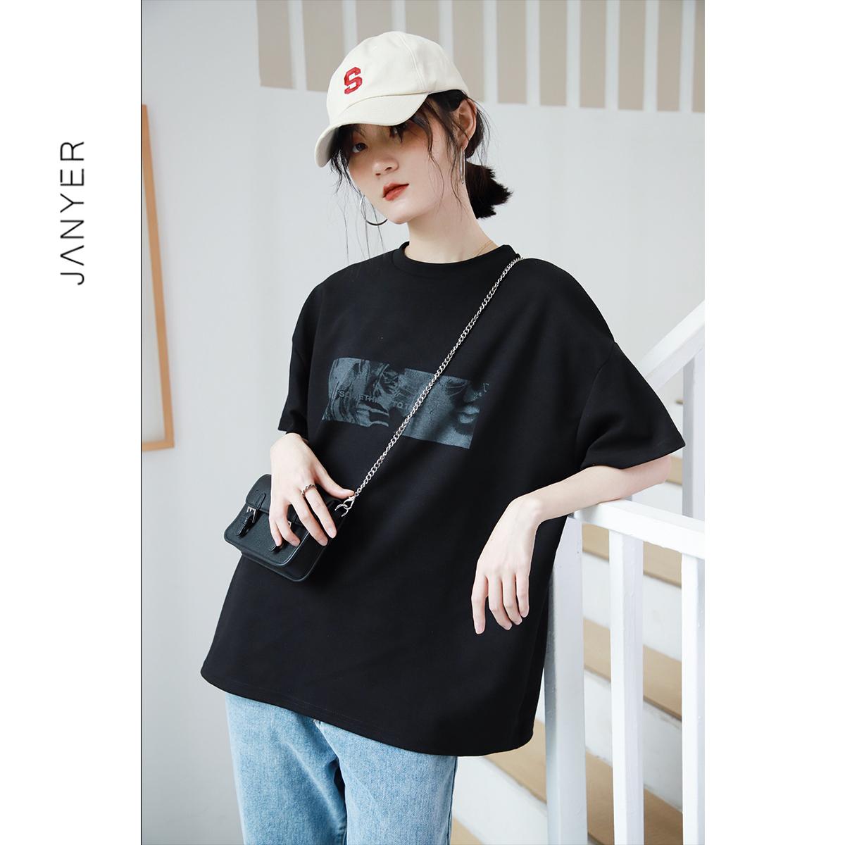 Short-sleeved t-shirt female black 2021 summer new loose body 桖 Korean version of cotton INS tidal 风 半 半 半 上