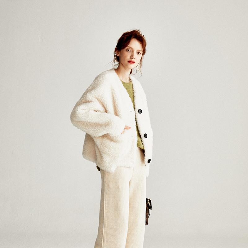 原形 西班牙高美貌度皮毛一体大衣 暖心羊剪绒短款外套女冬皮草