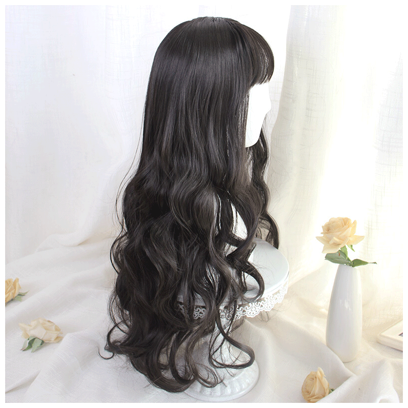 Wig female long curly hair big wave net red lovely Lolita round face Student Korean version fluffy face dressing headgear