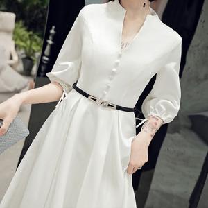 白色小晚礼服女高端宴会气质连衣裙