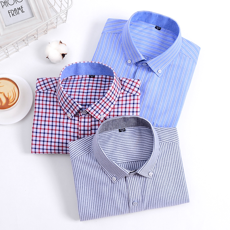George Golf mens Long Sleeve Shirt Youth autumn and winter Oxford spinning casual iron free business stripe shirt for men