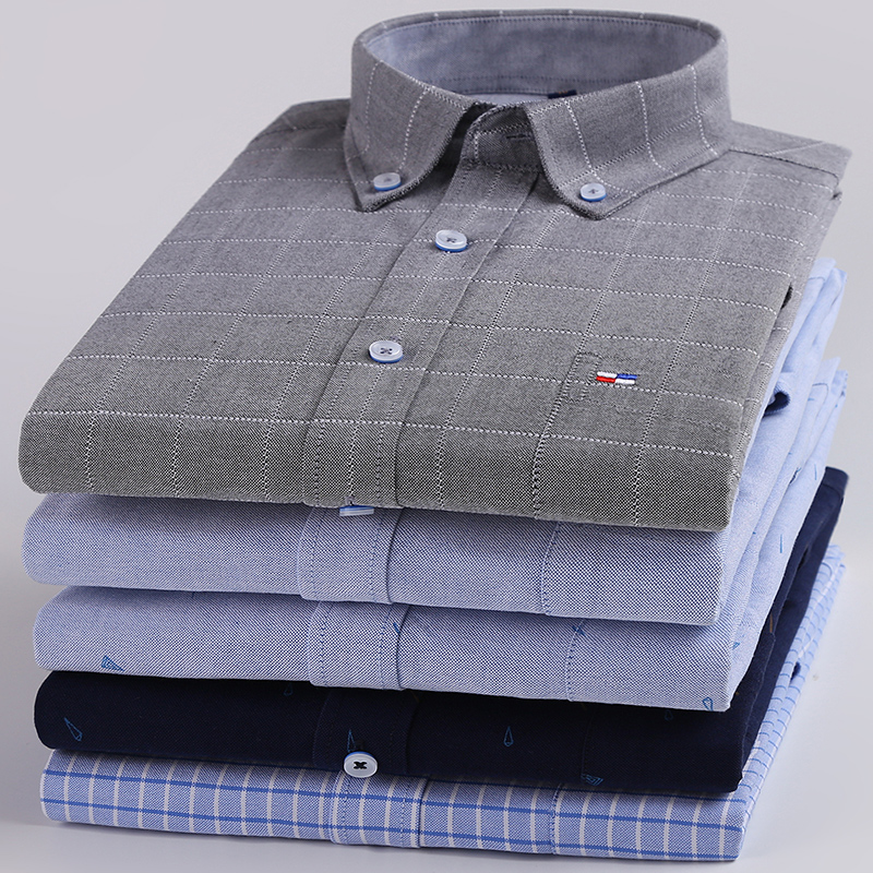 New youth Korean mens pure cotton Oxford spinning Shirt Long Sleeve Shirt slim fit non iron Plaid top fashion