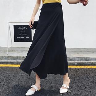 純色一片式半身裙女夏雪紡繫帶裹裙沙灘長裙一塊佈防曬裙子一片裙