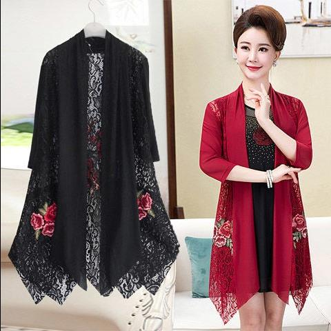 Mothers two piece Embroidered Lace Shawl coat for middle aged and elderly womens Chiffon large sun proof cardigan