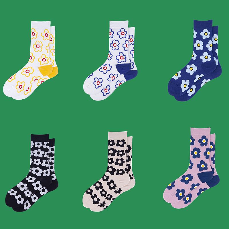 韩国ins泫雅风百搭日系小花朵中筒棉复古可爱高筒长袜子女学生潮