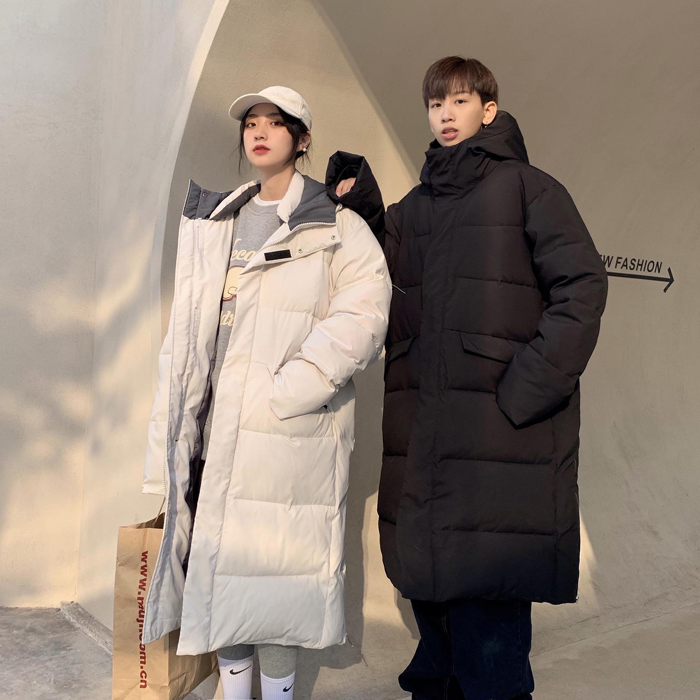 C316 M2111 P158 冬装长款外套棉衣宽松保暖连帽中长款情侣装