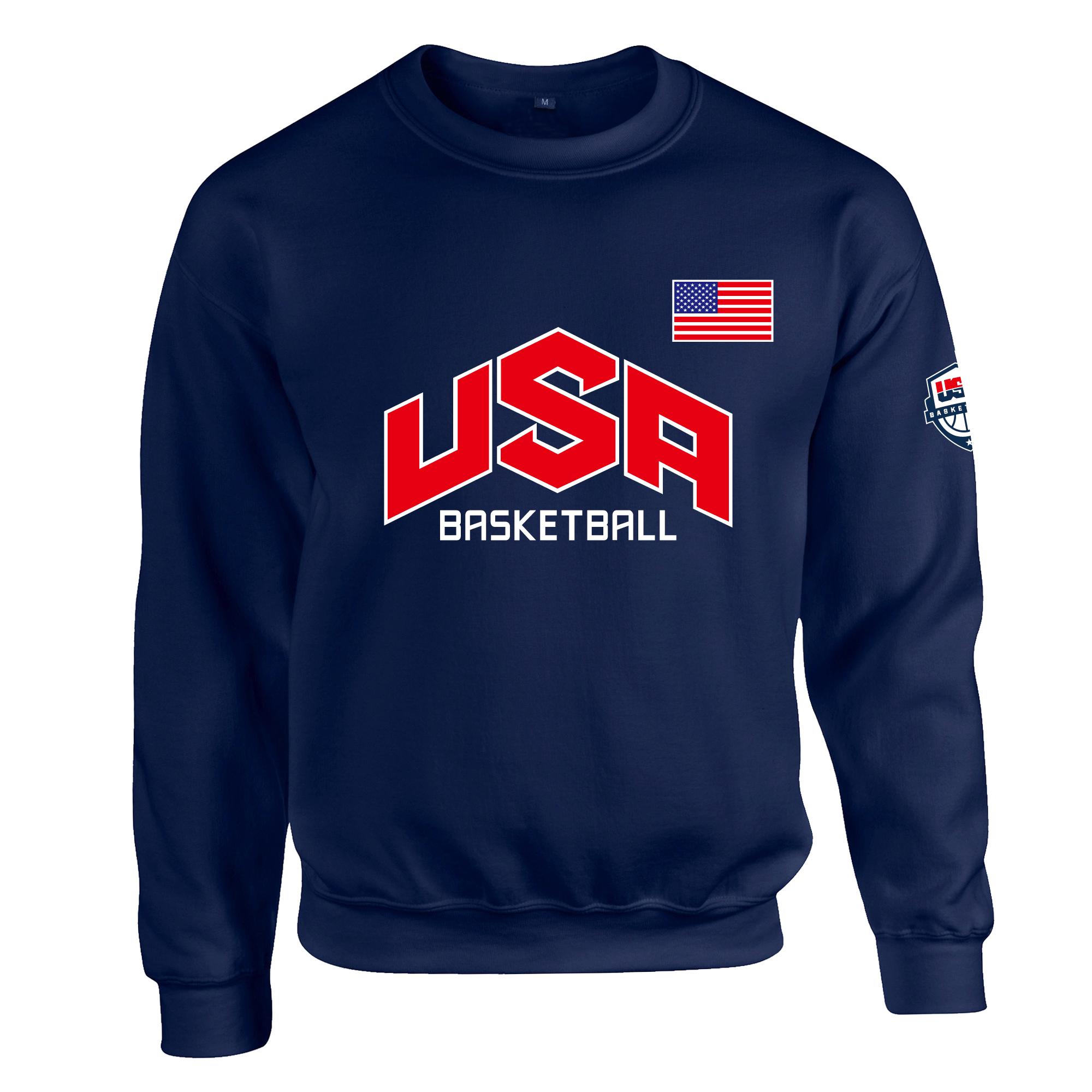 春秋冬USA美国男篮梦之队梦十男长袖圆领外套篮球加厚卫衣套头衫