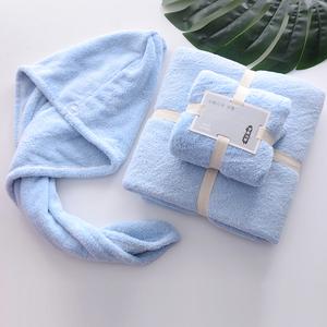家用吸水浴巾三件套装情侣洗澡超柔软网红速干发帽男女不掉毛礼盒
