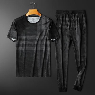 2021夏季新款格子冰丝短袖套装男 钱塘3029-3007-P110  平铺