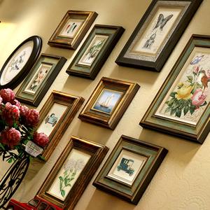 实木美式客厅鹿头挂墙复古相框墙