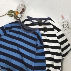 706-1-TX15-P30 夏季条纹上衣韩版男士百搭短袖T恤情侣半袖体恤潮