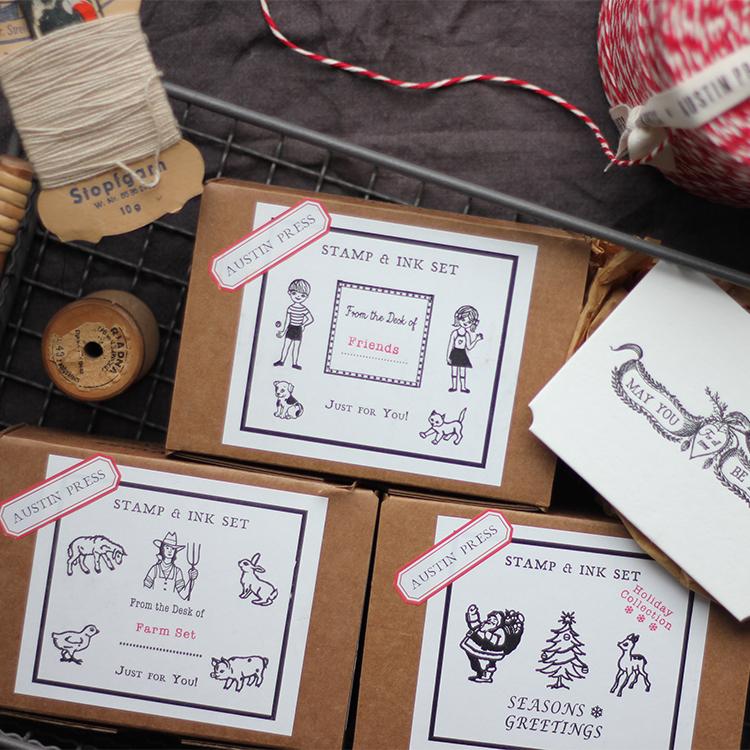 清舍礼物 Austin Press 美国小众印章卡片套装 手账工具印章