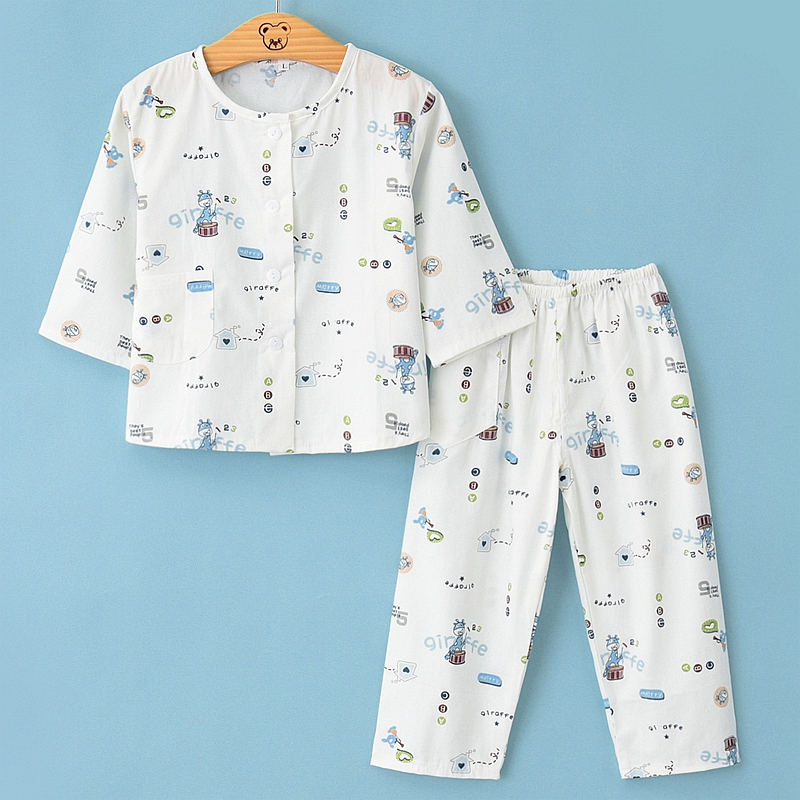 Spring and summer childrens home clothes pure cotton thin girls pajamas pajamas and pajamas for boys