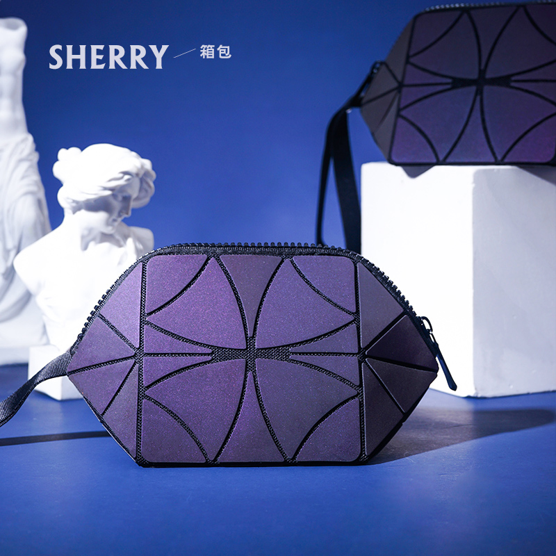 Laser bag folding cosmetic bag, female rhombus zero wallet colorful luminous night change color hands tiktok with the same voice