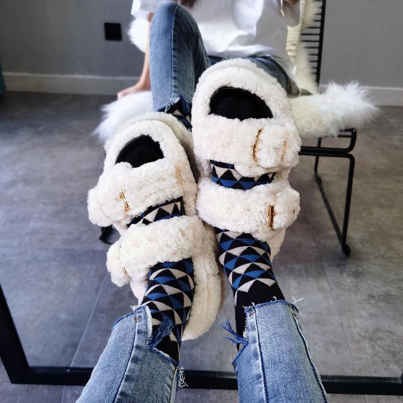 可口口2020秋冬羊羔毛皮毛一体平底凉鞋露趾懒人外穿真皮毛毛拖女