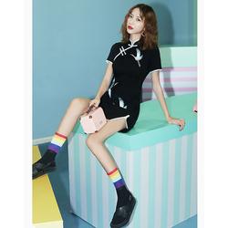 黑色旗袍年轻款少女改良国潮中国风连衣裙性感修身秋冬小个子短款