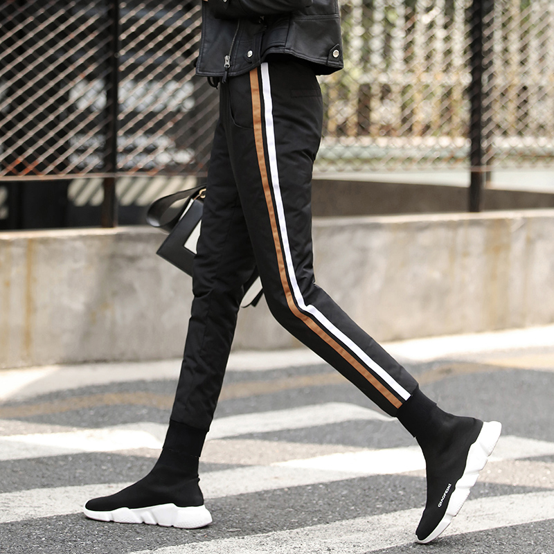Magic small foot down pants women wear outdoor high waist slim fit thin white duck down thickened Plush warm pants