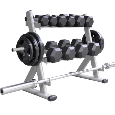 Household and commercial gym fitness equipment professional double-layer dumbbell rack hexagonal round fixed dumbbell display rack