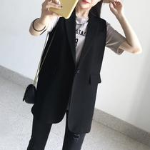 春夏马甲外套女小个子无袖西装韩版中长款坎肩职业气质大码马夹女