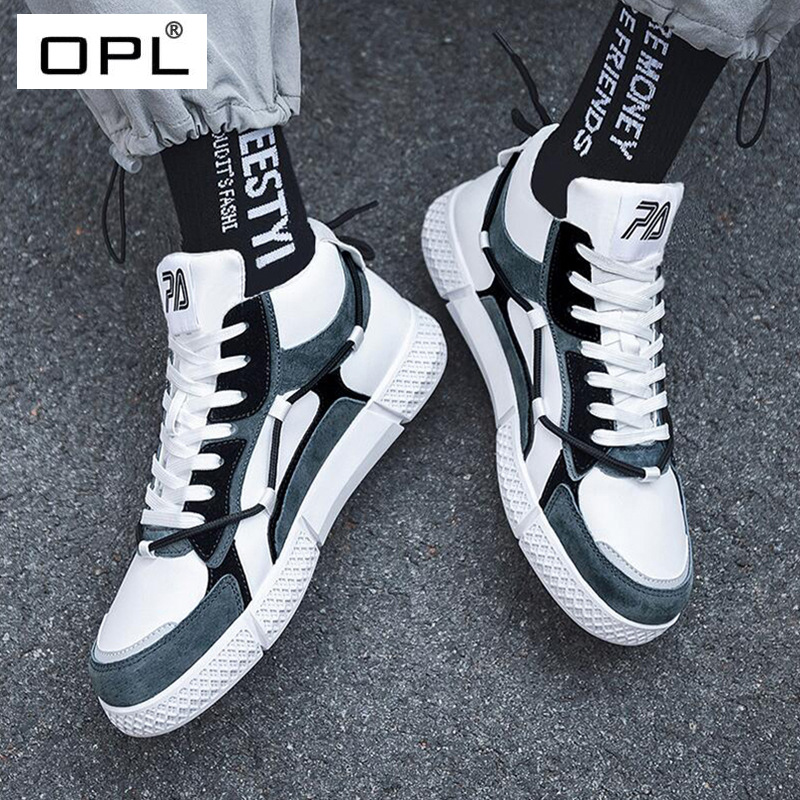 OPL mens shoes autumn and winter hand-made board shoes mens casual shoes breathable ins mens board shoes Hong Kong style high top canvas shoes