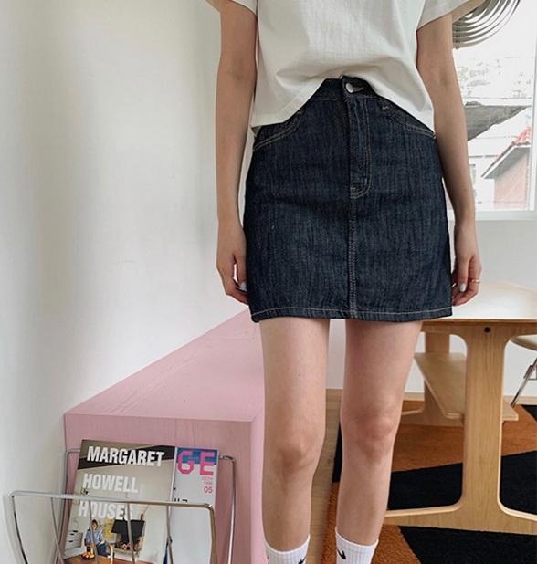 21 Summer August new 906studio Korea buys retro primary color slim Mini denim skirt (0616)