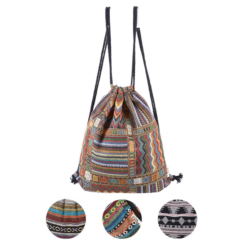 粗线针织|抽绳包双肩包波西米亚民族风几何束口袋旅行背包布包