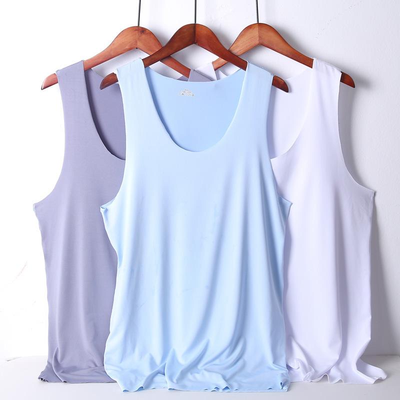 氷の糸の無傷のチョッキの男性は夏季弾力運動の速さを増大します。袖なしTシャツの広い肩の底のシャツの男性は薄いです。