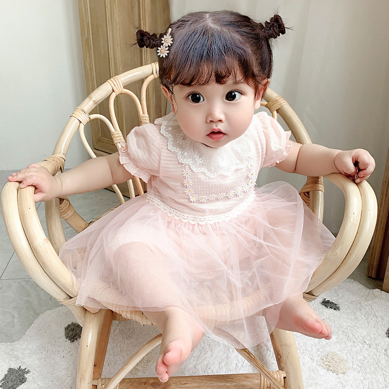 Summer 2020 new baby mesh stitching decoration Jumpsuit creeper bag fart embroidered hatsuit idea9612