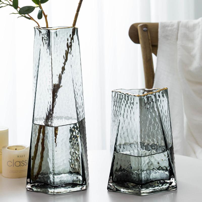 北欧创意锤目纹透明描金玻璃花瓶