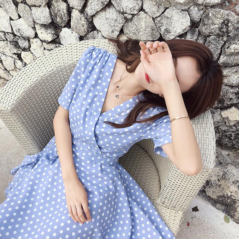 雪纺连衣裙女夏装2018新款韩版中长款极简主义慵懒风imiss裙子夏