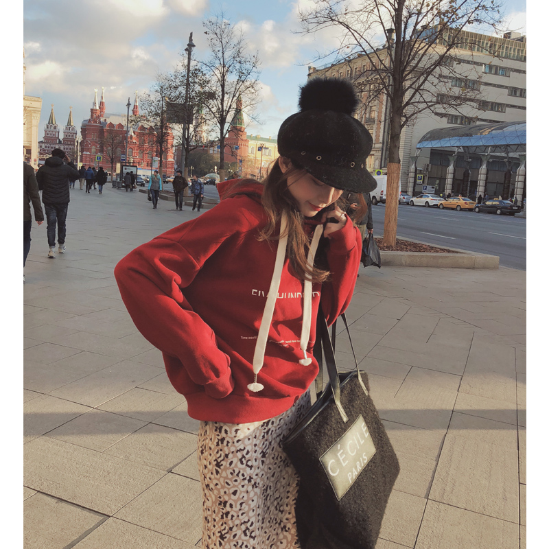 谜秀cec加绒卫衣女2018秋冬装新款韩版宽松chic小个子加厚冬外套