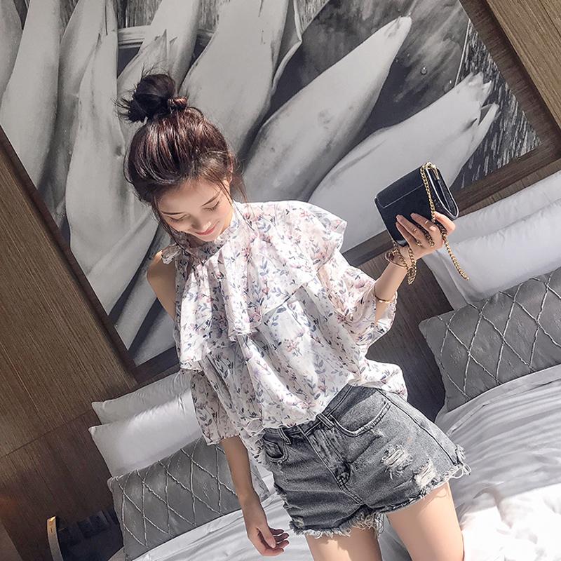 雪纺衫女短袖夏装2018新款韩版露肩超仙甜美碎花遮肚子飘逸上衣潮