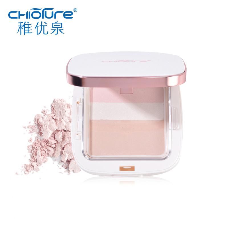 稚优泉三色粉饼遮瑕控油定妆防水修容保湿干湿粉两用粉底