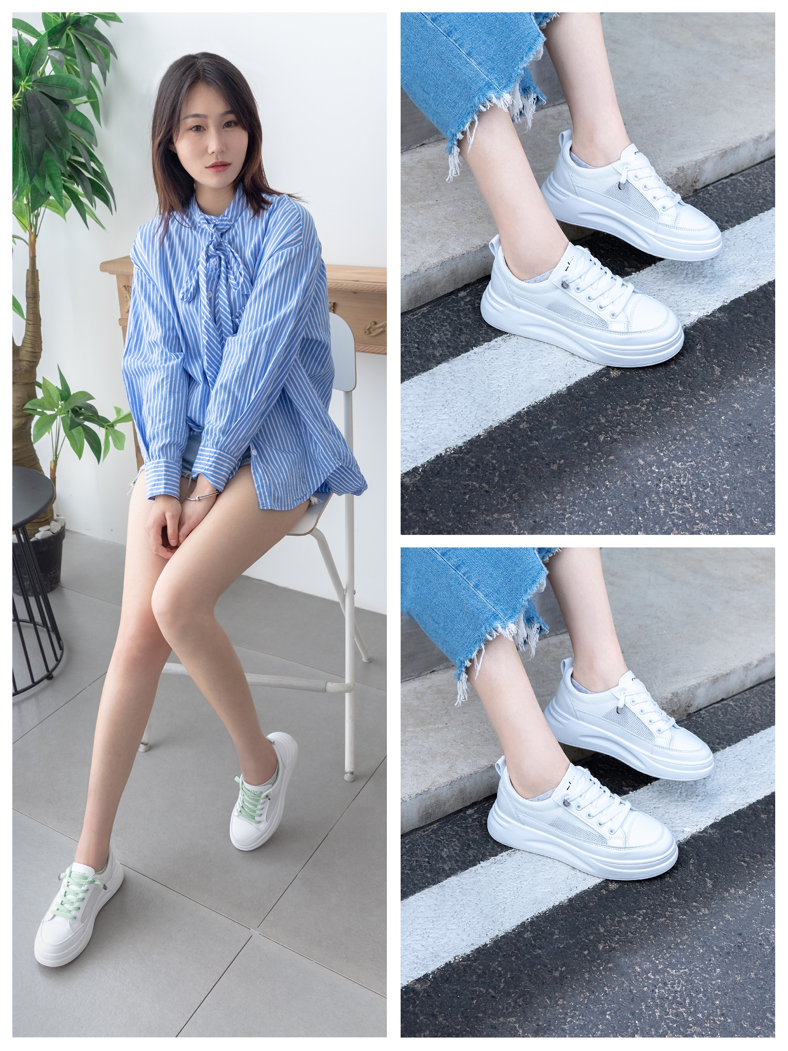 Small white shoes 2020 summer new mesh surface breathable versatile increase 4cm trend canvas father and daughter thick sole