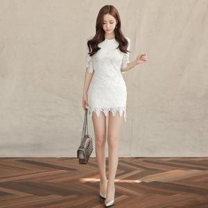 现货8229#2018春装新款韩版圆领水溶蕾丝修身显瘦连衣裙女短裙