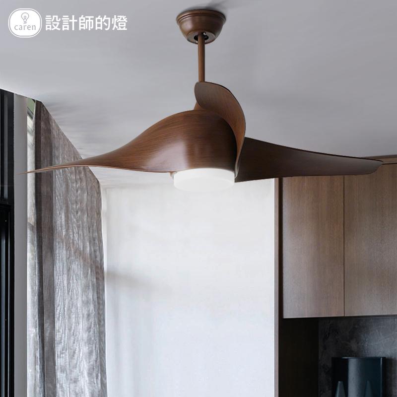 设计师的灯风扇吊灯欧式现代简约时尚餐厅遥控复古螺旋扇叶吊扇灯