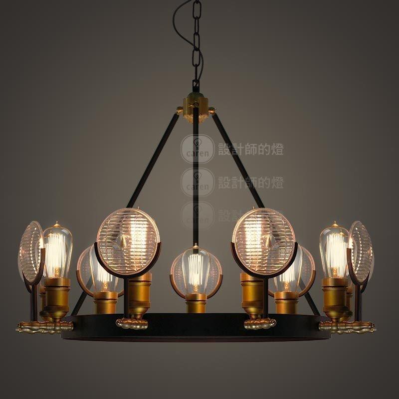 设计师的灯客厅吧台美式复古创意大厅酒吧咖啡厅圆形老爷车灯吊灯