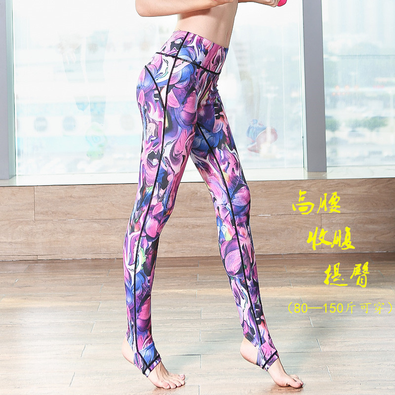 Yoga Pants summer high waist print tight fitness exercise pants hip lifting quick dry running pants high elastic big size foot stepping woman