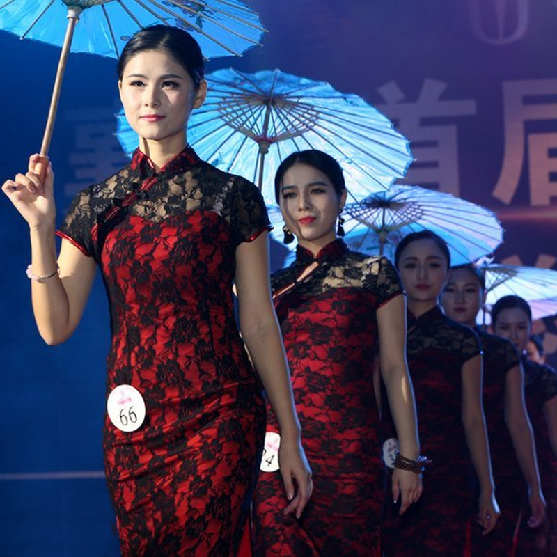 新款夜上海复古改良修身舞蹈旗袍女蕾丝长款高开叉斜襟舞台演出服