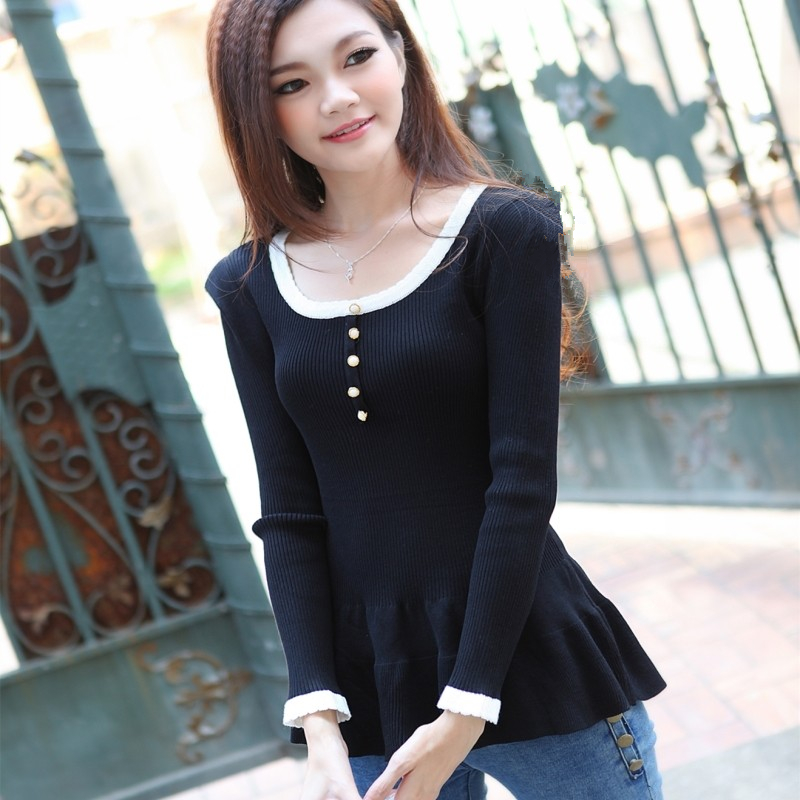 Fashion skirt round neck color matching short long sleeve slim fitting Pullover versatile knitwear spring and autumn sweater base coat