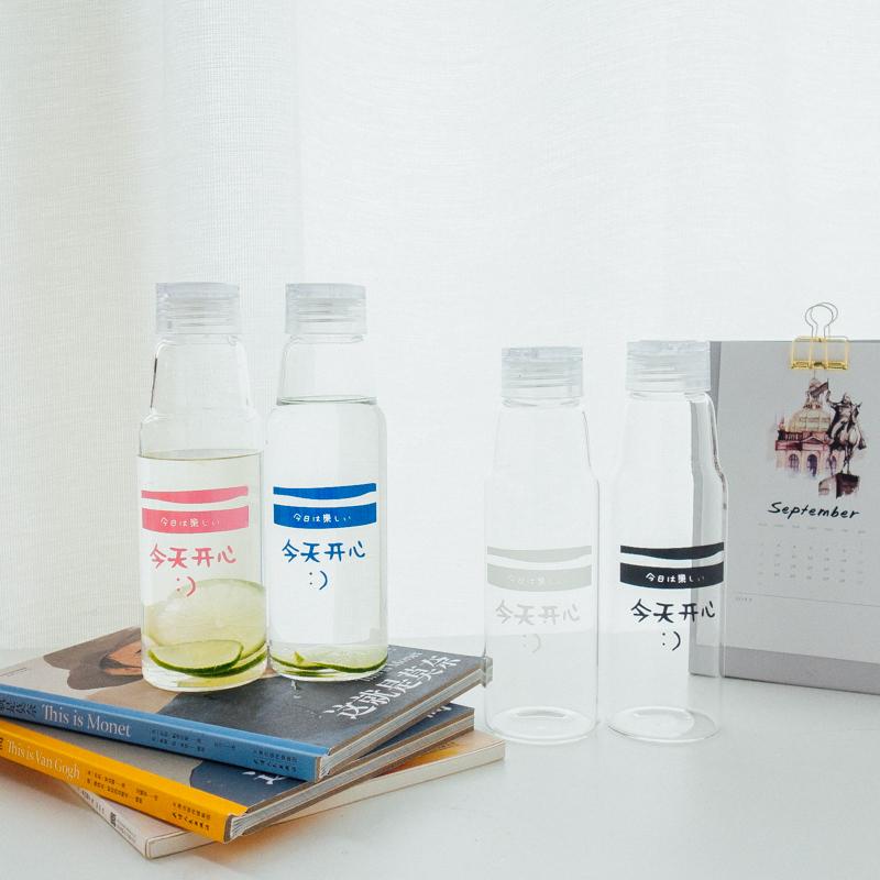 韩国网红汽水瓶玻璃杯便携水杯学生创意带盖随手杯子男女情侣水瓶