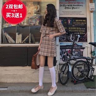 春秋中筒天鹅绒黑白色半截小腿长袜