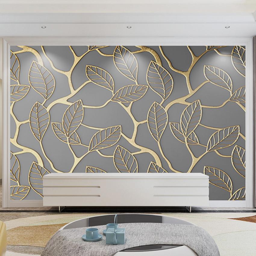 2020北欧簡約客間テレビの背景壁の壁紙は、個性的な金色の壁紙です。