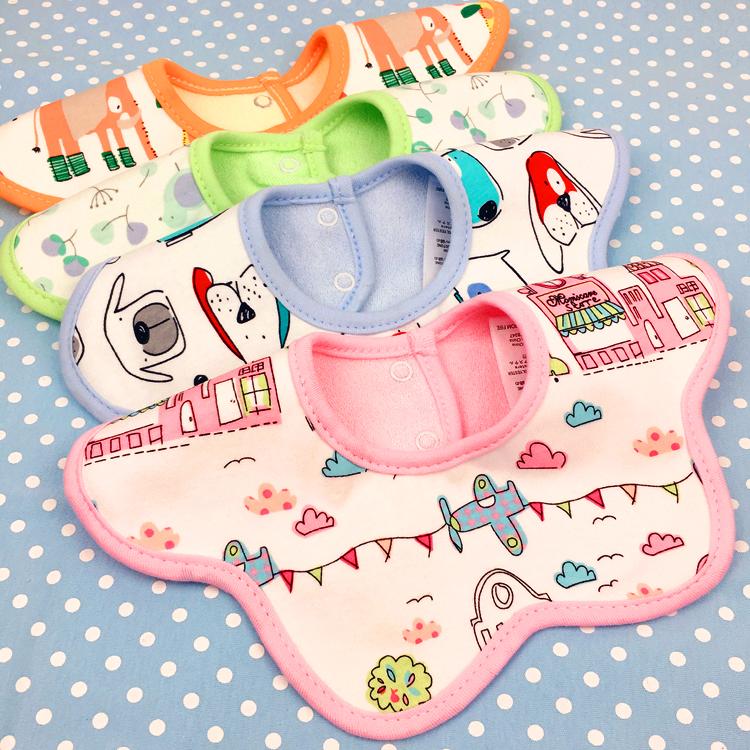 圆形花朵儿童围兜 婴儿宝宝360度可旋转口水巾围嘴三层纯棉防水