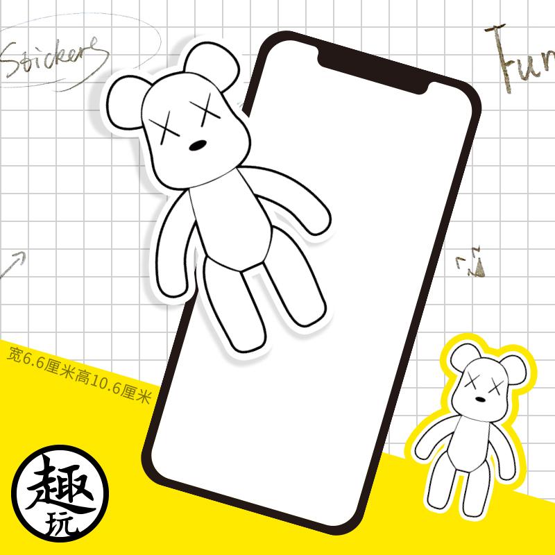 白色暴力熊gloomy笔记本电脑机箱手机滑板贴纸行李箱防水贴纸288