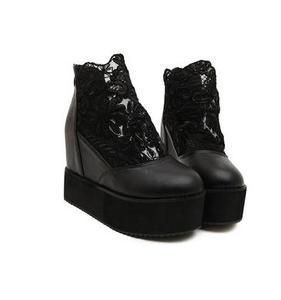 坡跟高跟鞋韩版蕾丝网纱凉鞋休闲鞋