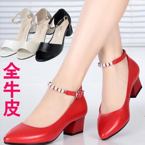 雪地意尔康女鞋真皮女单鞋春夏鱼嘴女凉鞋皮鞋女中跟凉鞋女红色鞋