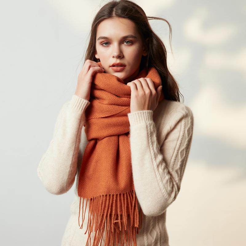 羊毛围巾女秋冬季韩版ins百搭加厚 纯色长款2019年新款披肩围脖两