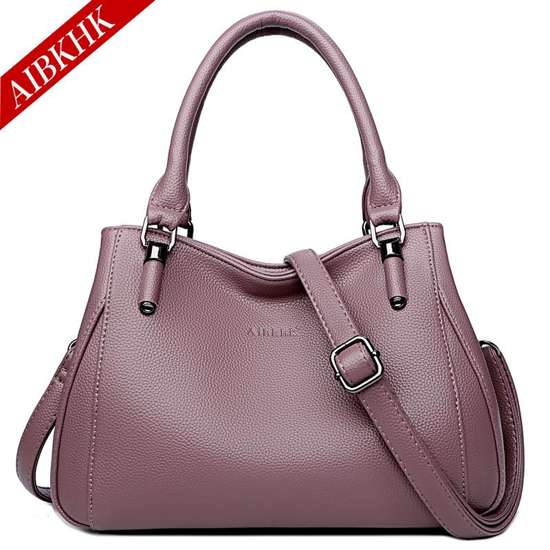 High grade womens handbag 2020 new leather handbag middle aged womens bag large soft leather bag dual purpose Single Shoulder Messenger Bag