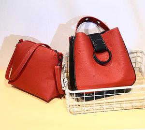 新款时尚女包日韩版女士手提包单肩包水桶包圆环撞色两件套子母包
